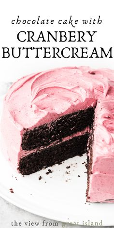 Chocolate Cake with Cranberry Buttercream ~ an easy moist layer cake recipe made right in a saucepan! Don't miss this amazingly delicious holiday dessert! Köstliche Desserts, Delicious Desserts, Dessert Recipes, Yummy Food, Holiday Cakes, Christmas Desserts, Christmas Baking, Buttercream Recipe, Frosting Recipes