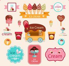 Cute ice cream logos with label elements vector 01 - Dawn Idea Gelato, Dieter Nuhr, How To Freeze Blackberries, Ice Cream Logo, Ice Cream Business, Ice Cream Freeze, Ice Cream Design, Bubble Waffle, Vintage Ice Cream