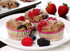 Mixed Berry Whole Wheat Muffins | Skinnytaste (I added 2 bananas instead of 2/3 cups of berries)