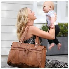 Vanchi Indie Holdall Nappy Bag in Tan Lifestyle | My Little Burrow Online Baby Store