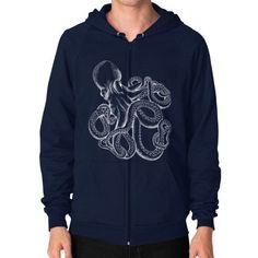 Realistic Octopus White on Black Zip Hoodie (on man)