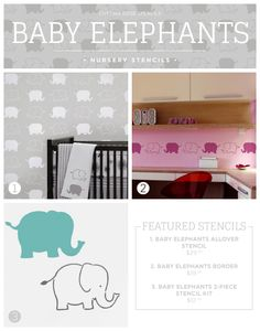 Cutting Edge Stencils shares new nursery wall stencil patterns including these Baby Elephants themed designs. http://www.cuttingedgestencils.com/baby-elephants-stencil-nursery-decor.html