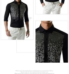 Beaded-Front Shirt - TheLees   YESSTYLE