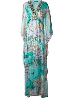 70's perfection MATTHEW WILLIAMSON flower printed beaded beach dress #dress #matthewwilliamson #women #designer #covetme