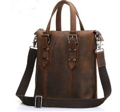 Men's Coffee Crazy Horse Leather Bag
