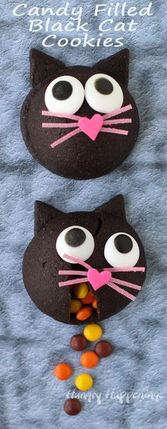 These wickedly cute Candy filled Black Cat Cookies make a purr-fect Halloween treat. See how you can make them at home. You'll find the tutorial at HungryHappenings.com.