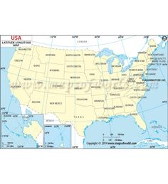 Buy Us Map With Laude And Longitude