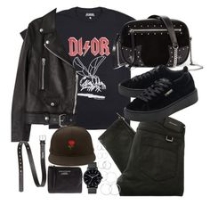 outfit with a dior tee and puma creepers by ferned on Polyvore featuring Acne Studios, Belstaff, Puma, Karl Lagerfeld, The Horse and Forever 21