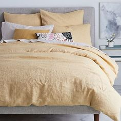 Our Belgian Linen Duvet Cover is woven from fine Belgian flax, which is washed for a luxe, lived-in look. Prized for its breathability, linen keeps you cool in the summer and warm in the winter, making it the natural choice for the master bedroom. Neutral Bedding, Yellow Bedding, Modern Bedding, Neutral Bed Sets, Bedding Sets Online, King Bedding Sets, Comforter Sets, Luxury Duvet Covers, Luxury Bedding Sets