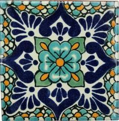 Traditional Mexican Tile - Lluvia Azul More Más This beautiful patterned decorative Traditional Talavera Tile is a hand-made and hand-painted rustic tile carefully created by Motif Arabesque, Mexican Ceramics, Talavera Pottery, Ceramic Pottery, Ceramic Art, Mexican Folk Art, Mexican Tiles, Mexican Tile Kitchen, Kitchen Tile