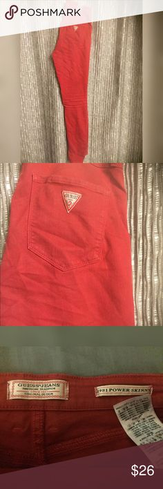 🎉Guess 1981 high waisted red power skinny jeans These jeans are in great condition. A little darker in person. High waisted. Guess Jeans Skinny