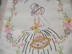 Embroidered Fan Lady