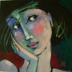 regard de femme 1 - Peinture,  2x50x50 cm ©2009 par Odile Chodkiewicz -                                                            Peinture contemporaine, Toile, Portraits, Portraits, visages de  femme