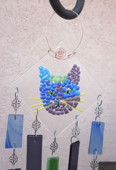 Mosaic Cat Face Wind Chimes,  Sun Catcher, Wind Chime, Fused Glass    #mosaiccatwindchime