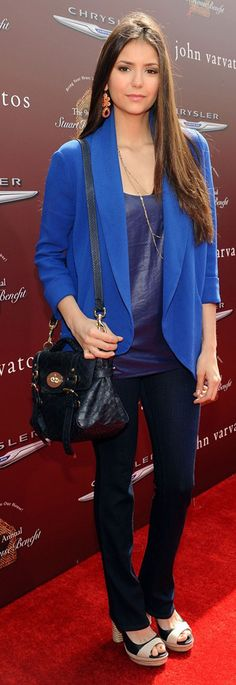 Vampire Diaries star Nina Dobrev is wearing our Capri Chandelier earrings in coral. Love the pairing with cobalt blue!   http://shop.stelladot.com/style/b2c_en_us/capriearrings.html?s=salima