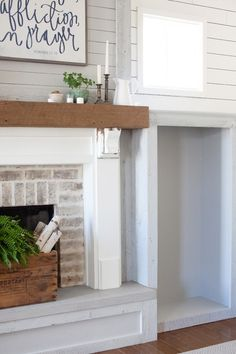 reface fireplace with ship lap                              …