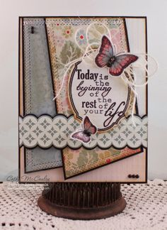 Sweet 'n Sassy Stamps used: Borders & Backgrounds stamps and coordinated dies, Decorative Plaque stamps and dies, Words Art 1, Majestic Monarchs stamps and dies.