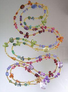 ~~Rainbow Gemstone Necklace  Opera Length Multi by bellajewelsII~~
