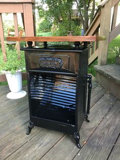 We Combined This Antique Gas Stove With A Farm House Medicine Cabinet Door  To Create This