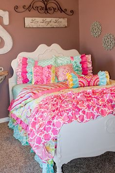 Love this bed so colourful,practical,loveable,pretty and frilly