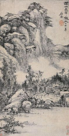 清代 - 石濤 - 深山龝水圖(款)             立軸  紙本  89×45cm.                                Shi Tao  (1642–1707),was a Chinese landscape painter and poet during the early Qing Dynasty (1644–1911)
