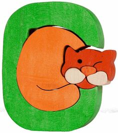 Montessori - Waldorf wooden puzzle letter C(at), made by hand of maple wood,no harmful colors and no lacquer