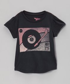 Take a look at this Antique Black Record Organic Tee - Toddler & Girls by Topo Ranch on #zulily today! $15 !!