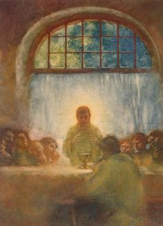 Gaston La Touche - Last Supper, 1897. Watercolor on paper pasted on panel, partially lacquered. The State Hermitage Museum.
