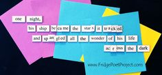 The Daily Magnet #293 Magnetic Poetry; Demagnetize Writer's Block! www.FridgePoetProject.com #writerslife