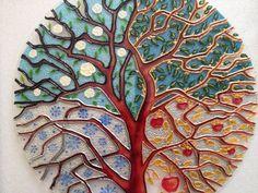 Four Seasons Tree Painting on Glass