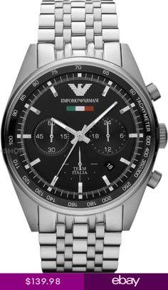Emporio Armani Mens Watch Black DialStainAR5983 Emporio Armani Mens Watches, Chronograph, Omega Watch, Watches For Men, Ebay, Accessories, Black, Products, Italia