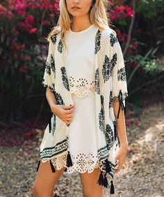 This Leto Collection Cream & Black Floral Tassel-Trim Kimono by Leto Collection is perfect! #zulilyfinds