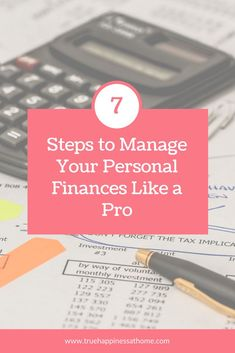 7 Steps to Manage Your Personal Finances Like a Pro. Especially number I need to sit down and do all 7 steps! Wealth Management, Money Management, Saving Ideas, Money Saving Tips, Make Money Online, How To Make Money, No Spend Challenge, Soccer Inspiration, Family Bonding