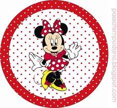 Etiquetas de Minnie- Toppers de Minnie- Stickers de Minnie roja - Imprimibles Minnie roja lunares blancos Más