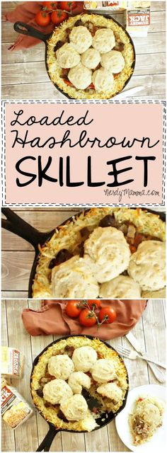 This recipe for a Loaded Hashbrown Skillet is so EASY! I love that it's a dinner recipe that uses harshbrowns...so awesome. #ad #HBforDinner