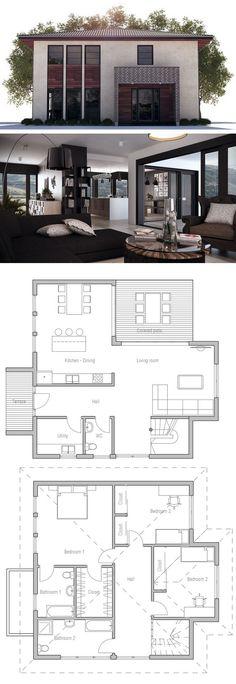 Home Design, Three bedrooms floor plan, Small House Plan, Home Plan