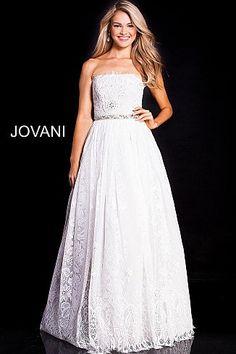 b8f832fbdd2f Ivory Strapless Embellished Belt Lace Prom Ballgown 54587. Prom Dresses  JovaniProm ...