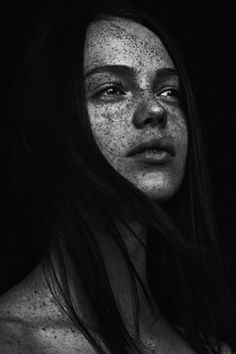 """A freckled black and white portrait from the coffee table book """"we are freckled"""" by the swedish photographer Jonas Carmhagen who is fascinated by freckles and people behind them. Portrait Photography Men, Dark Photography, People Photography, Black And White Photography, Amazing Photography, Photography Lighting, Women With Freckles, Freckles Girl, Beautiful Freckles"""