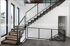 Steel wooden stairs from the stair specialist - stair. Railing Design, Staircase Design, Railing Ideas, Staircase Railings, Stairways, Wooden Stairs, Room Interior, Facade, Sweet Home
