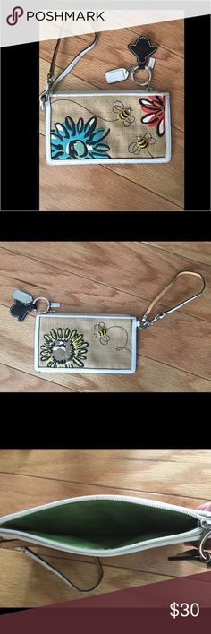 Authentic Coach Bumble Bee Wristlet. Authentic Coach Bumble Bee Wristlet. Mesh canvas/leather with lots of detail. Cute accessories attached. Zippered top with green liner, no compartments. Used once. Coach Bags Clutches & Wristlets
