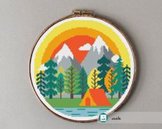 Camping at the mountains cross stitch pattern, modern cross stitch pattern, PDF, instant download