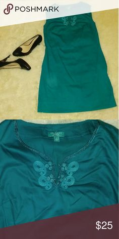 Fun Teal Shift Dress Mid knee length dress with embroidered neck line. Fun for brunch outings or cute work outfit. Calypso St. Barth Dresses Midi