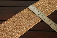 1 Yard Beige Fabric Trim Embroidered Trim by ArtsyCraftsyShoppe
