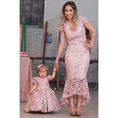 Chic V neck Mermaid Long Prom Dress Pink Beaded Party Dress Prom Dresses Prom Dresses, Mother Daughter Dresses Matching, Mother Daughter Fashion, Mom Daughter, Mommy And Me Outfits, Girl Outfits, Dresses Kids Girl, Flower Girl Dresses, The Dress, Baby Dress