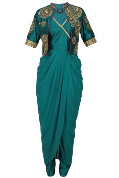 Teal angrakha style kurta and embroidered short jacket set available only at Pernia's Pop Up Shop.