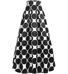 Vintage Fashion and Lifestyle NINEWE Women's White Contrast Polka Dot Print Maxi Skirt