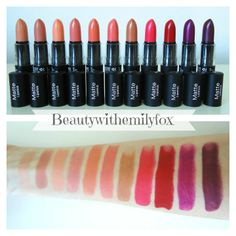 NYX Matte Lipsticks - New shades 2014  (L-R) Shy, Spirit, Forbidden, Couture, Daydream, Temptress, Sable, Street Cred, Eden, Aria and Siren
