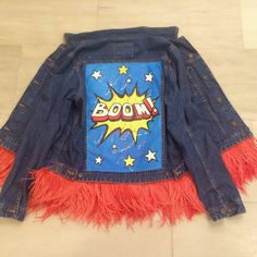 "Denim jacket ""Boom"" of dark blue color. 100% COTTON. Hand painted, decorated with detachable ostrich feathers of red colour.Woven label in organic cotton.NOT VINTAGE JACKET! dariamaria.com"
