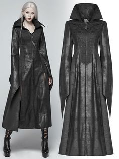 Victorian Gothic style women& black long coat with wide pointed sleeves and. - - Victorian Gothic style women& black long coat with wide pointed sleeves and embroidered front 2019 New Collection Models Ladies-Receive New Date . Alternative Mode, Alternative Fashion, Mode Adidas, Moderne Outfits, Gothic Mode, Fantasy Dress, Gothic Outfits, Gothic Dress, Mode Hijab