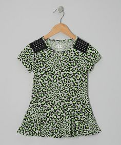 Take a look at this Green Leopard Peplum Top - Girls by Star Ride on #zulily today!